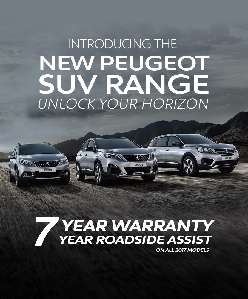 A new Peugeot SUV range banner with 7 year warranty